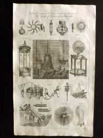 Hall 1791 Antique Print. Hydraulic Engines. Diving Bell